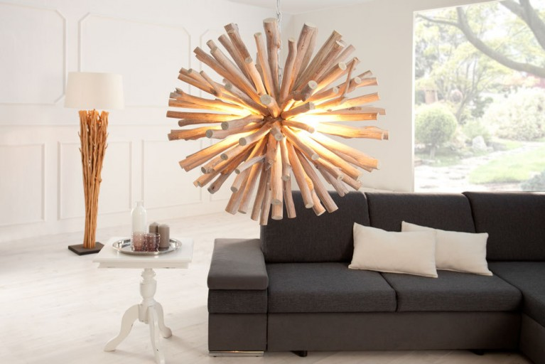 Design Massivholz Hängeleuchte EUPHORIA 70 cm Handarbeit Longan Holz