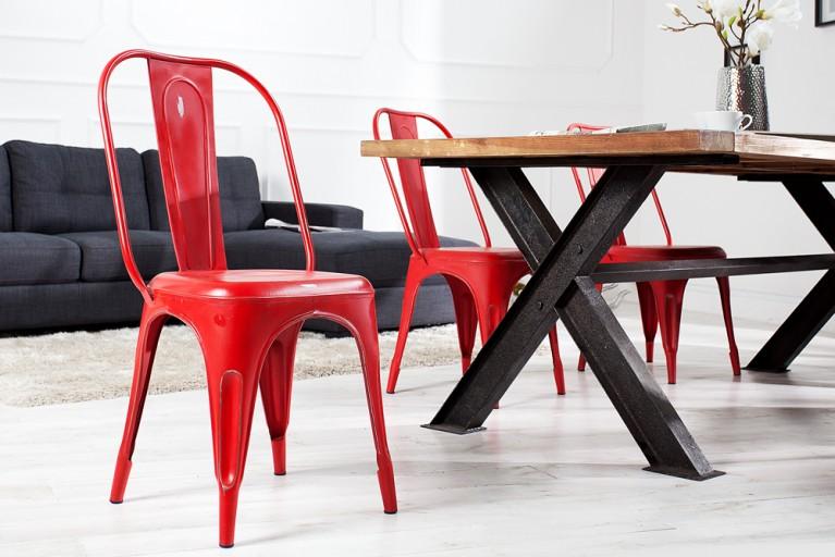 Stylischer Design Stuhl MONTMARTRE rot 95cm hoch im Used Look