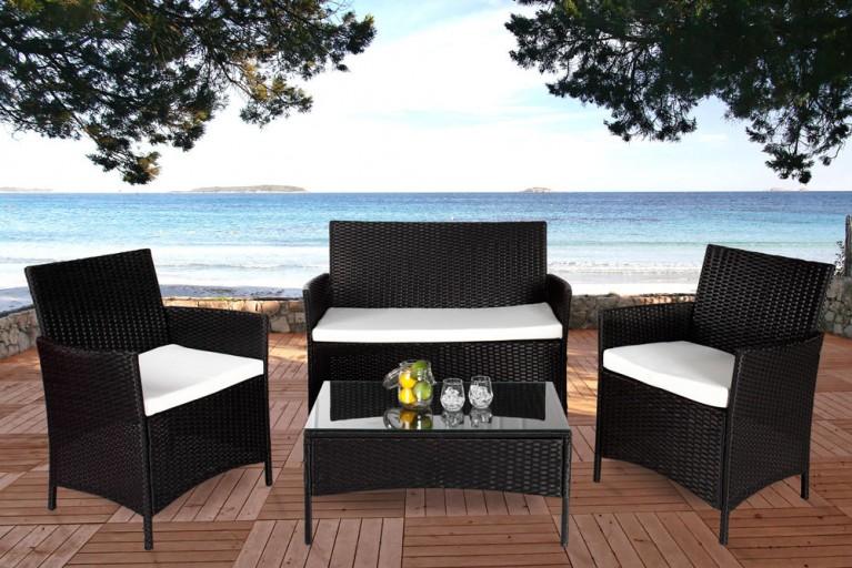 Design Garten 4er Sitzgruppe PALMA Rattan anthrazit inkl. weißen Sitzauflagen