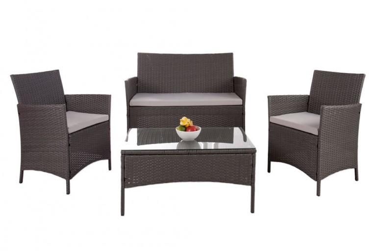 Design Garten 4er Sitzgruppe PALMA Rattan grau inkl. grauen Sitzauflagen