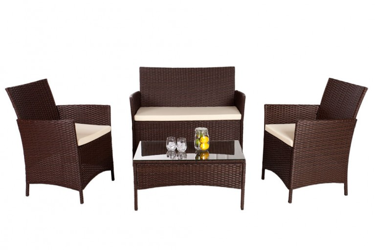 Design Garten 4er Sitzgruppe PALMA Rattan coffee inkl. cremefarbigen Sitzauflagen