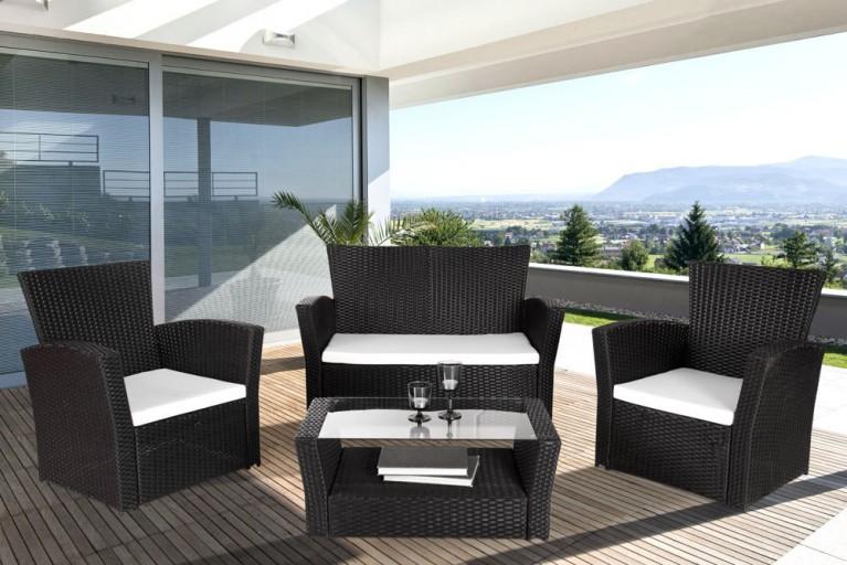 Design 4er Garten Loungegruppe SUNRISE anthrazit inkl. weißen Sitzkissen Gartengarnitur