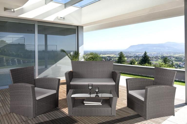 Design 4er Garten Loungegruppe SUNRISE granit grau inkl. grauen Sitzkissen Gartengarnitur