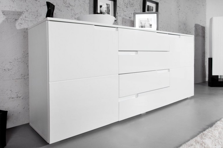 Design Sideboard CLUB 165cm weiß High Gloss Kommode