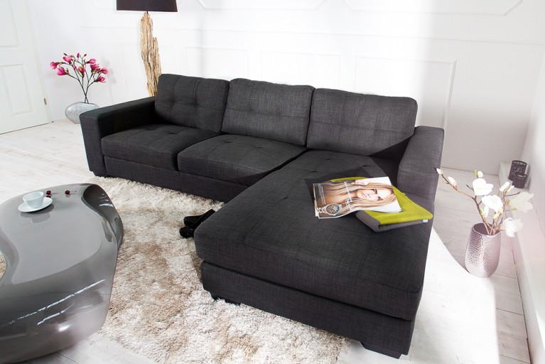 Stylisches Retro Trend Design Ecksofa BOSTON Strukturstoff anthrazit Steppoptik OT rechts