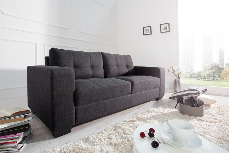 Design Couch BOSTON Strukturstoff anthrazit Steppoptik 3er Sofa