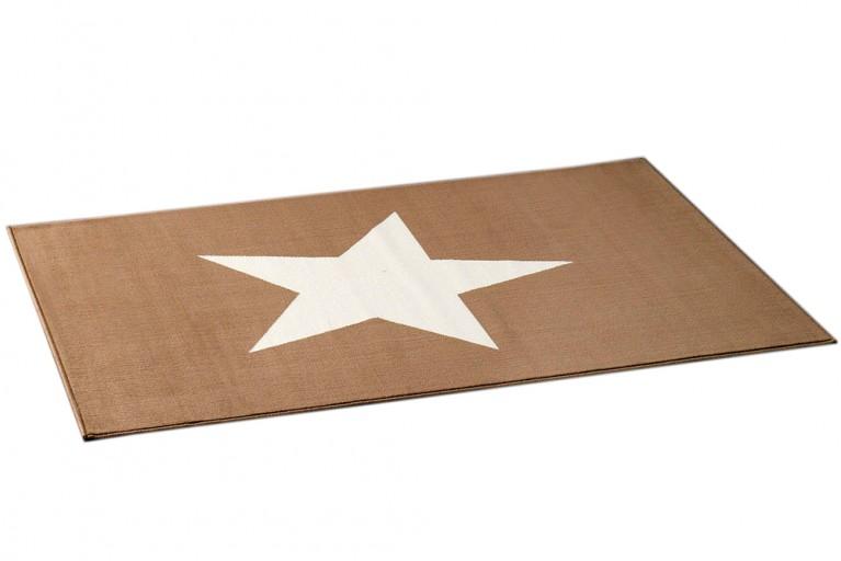 Design Teppich BRIGHT STAR BURLYWOOD grau-braun mit Stern 140x200 cm