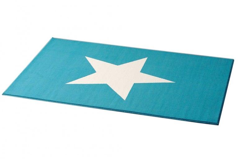 Design Teppich BRIGHT STAR BLUESKY hellblau mit Stern 140x200 cm