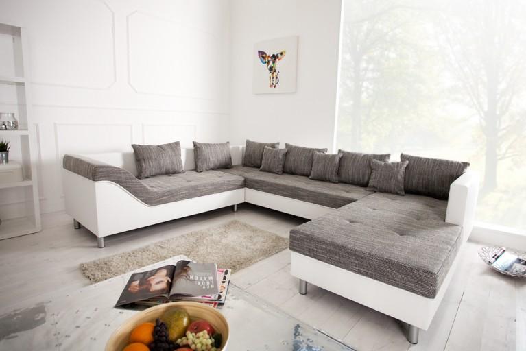 XXL Wohnlandschaft SULTAN weiss Strukturstoff grau Couch OT rechts