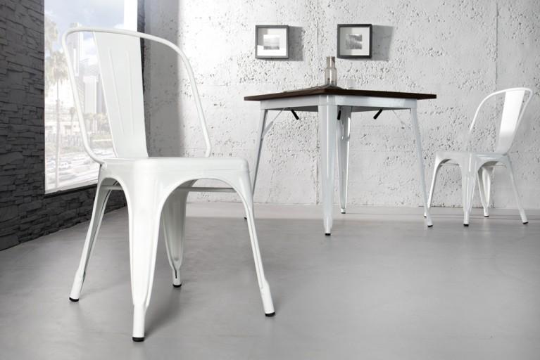 Stylischer Design Stuhl MONTMARTRE weiß 85cm Designklassiker Industrial Finish