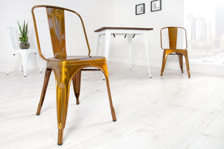 Stylischer Design Stuhl MONTMARTRE kupfer 85cm Designklassiker Industrial Finish