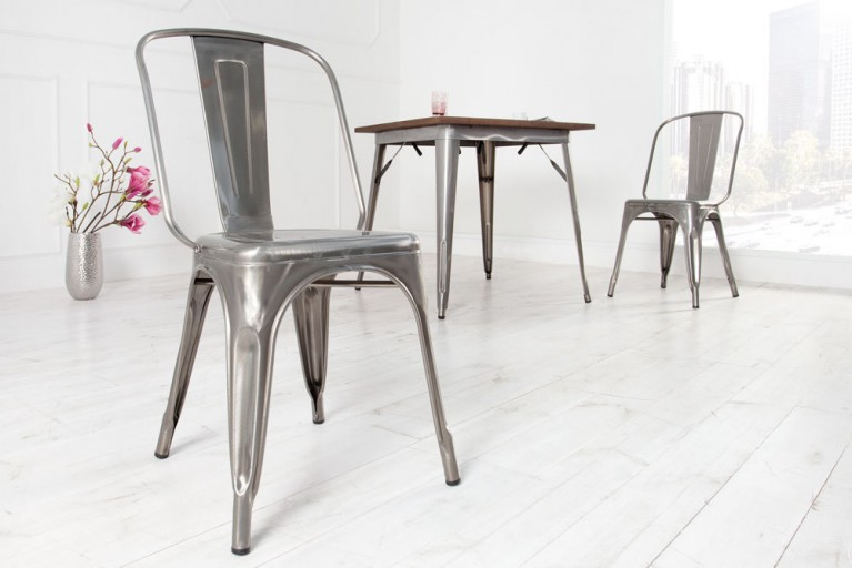 Stylischer Design Stuhl MONTMARTRE silber 85cm Designklassiker Industrial Finish