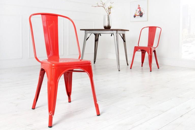 Stylischer Design Stuhl MONTMARTRE rot 85cm Designklassiker Industrial Finish