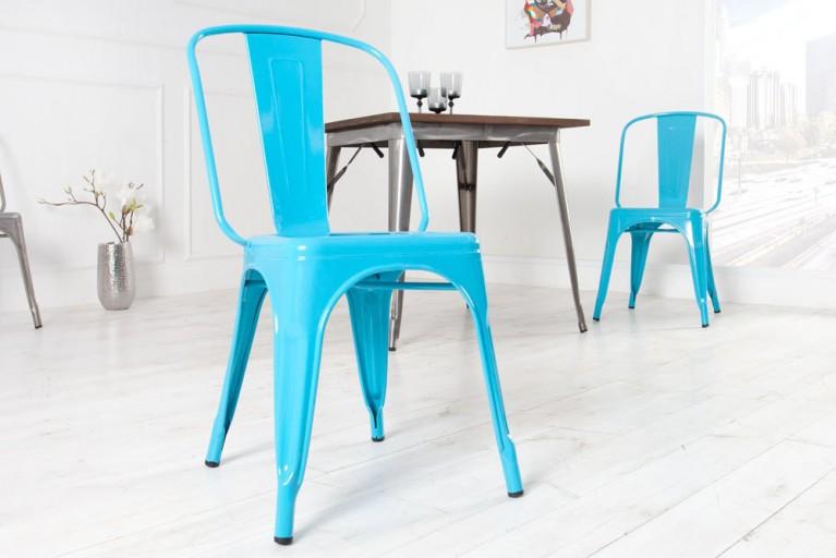 Stylischer Design Stuhl MONTMARTRE hellblau 85cm Designklassiker Industrial Finish