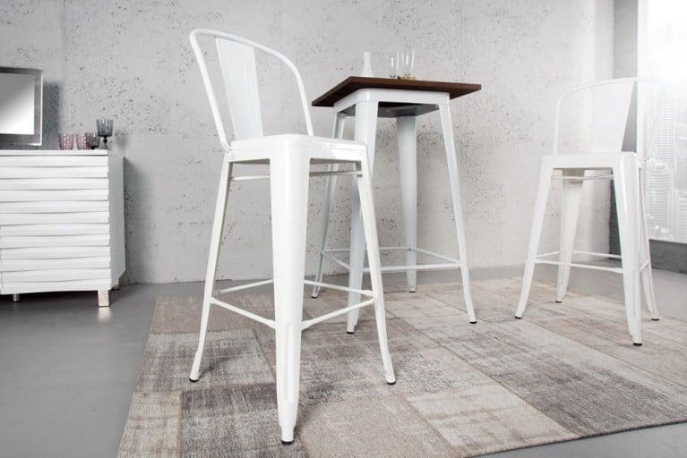 Design Barstuhl MONTMARTRE weiß 115cm Designklassiker Barhocker Industrial Finish