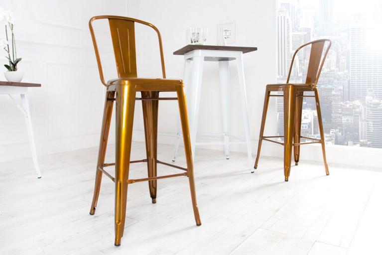 Design Barstuhl MONTMARTRE Kupfer 115cm Designklassiker Barhocker Industrial Finish