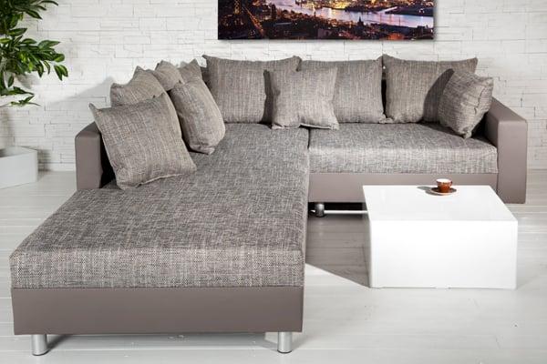 Design Ecksofa mit Hocker LOFT charcoal grau Strukturstoff Federkern beidseitig aufbaubar