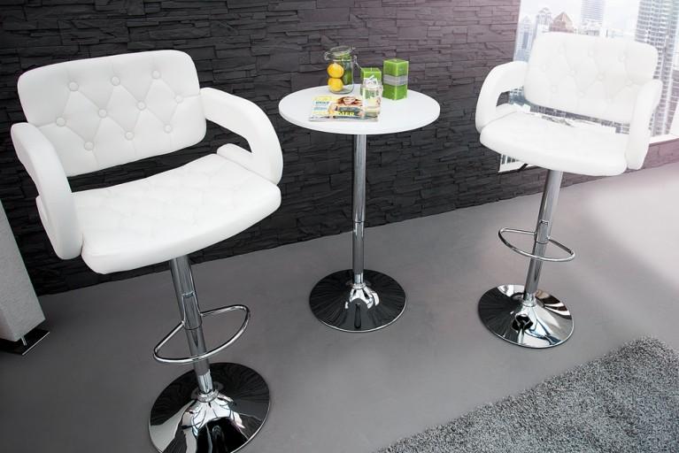 Exklusiver Design Barhocker CASINO II weiß Bistrostuhl