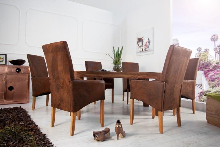 Design Stuhl VALENTINO mit Armlehnen coffee Antik Stoff Holzbeine Esche
