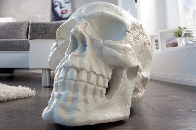 Riesiger Totenkopf SKULL matt weiß Natur 40cm Schädel