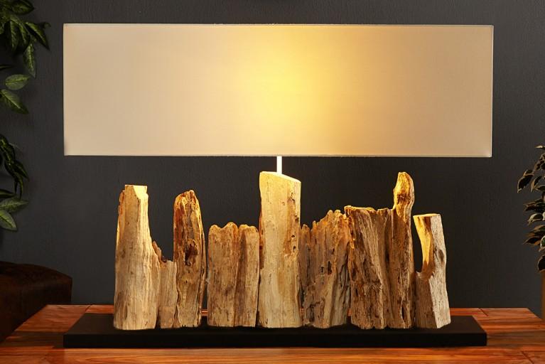 Design Treibholzlampe RIVERINE weiss mit schwarzem Standfuß Treibholz Leuchte Handarbeit