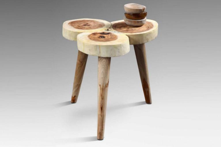 Skulptureller Original Baumstamm Couchtisch AMAZONAS Hocker Jahresringe