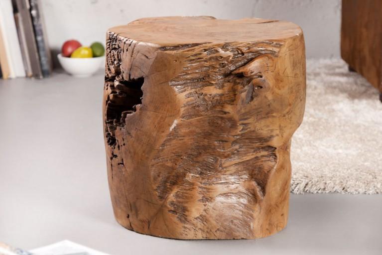 Massiver Baumstamm Hocker VOODOO 40 cm Teakholz aus dem Wurzelherzstück eines Mammutbaumes Couchtisch