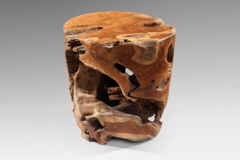 Teak Hocker  VOODOO aus einem Wurzelherzstück eines echten Mammutbaumes Couchtisch