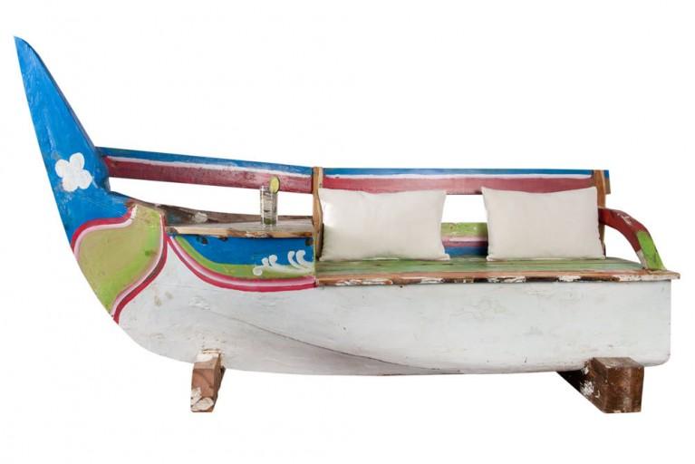 Einzigartige Boots Bank JAVA Original recyceltes Fischerboot Holz Bali Teak