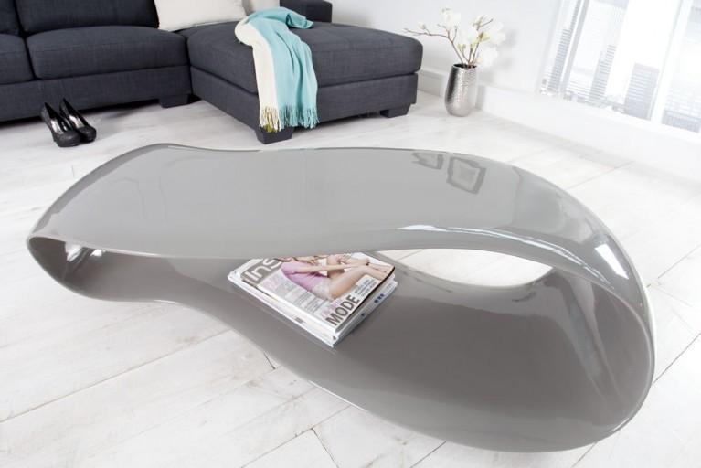 Moderner Tisch STREAM 115 cm Couchtisch aus Fiberglas grau Hochglanz futuristisches Design