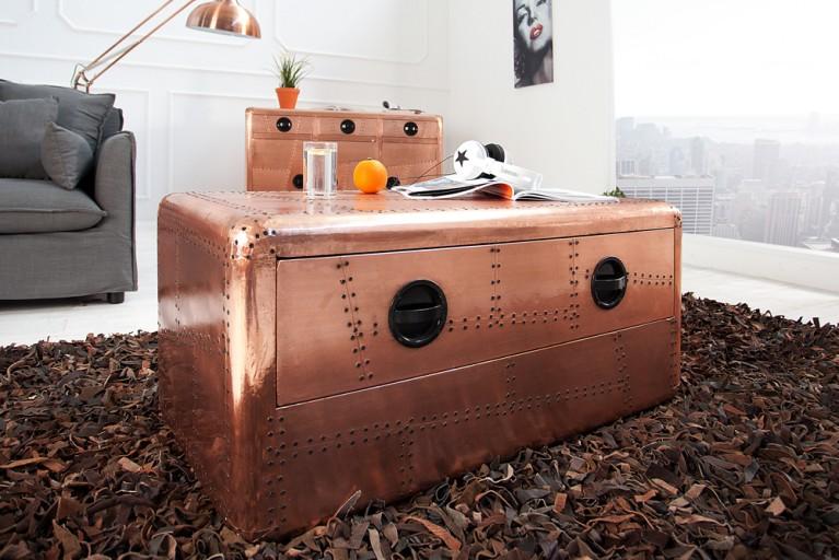 Design Couchtisch AVIATOR Kupfer 100cm Reisekoffer Vintage mit Schublade