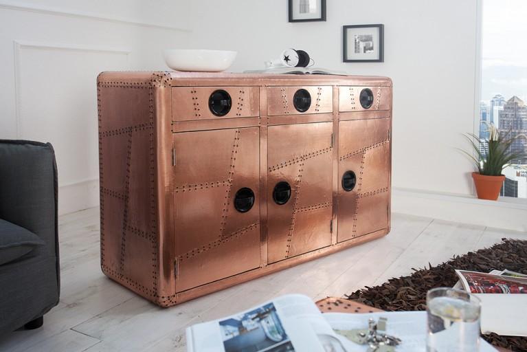 Design Sideboard AVIATOR 150cm Kupfer Vintage Kommode