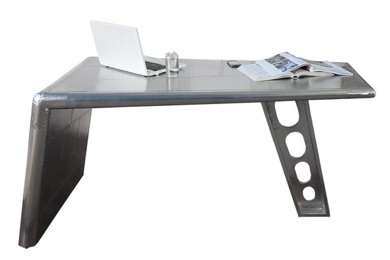 Design Schreibtisch AVIATOR Silber Alu matt 150cm Vintage Bürotisch