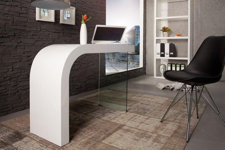 Innovativer Schreibtisch ONYX hochglanz weiss Bürotisch 120cm
