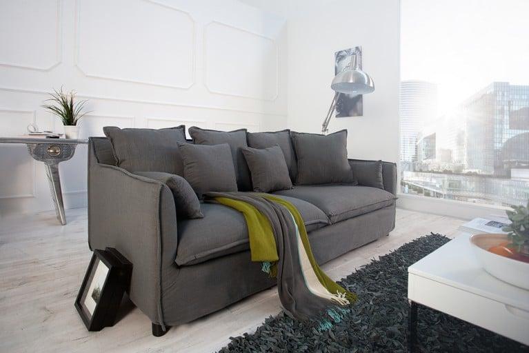 Großes Hussensofa HEAVEN Leinenstoff in grau-olive 3er Sofa 215cm