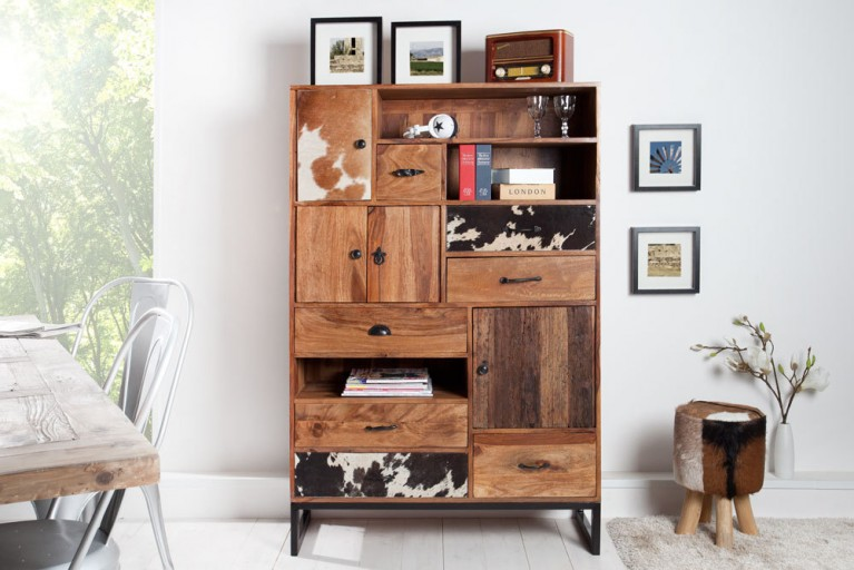 Hohes Design Highboard NATURE PATCHWORK Sheesham in Kuhfelloptik