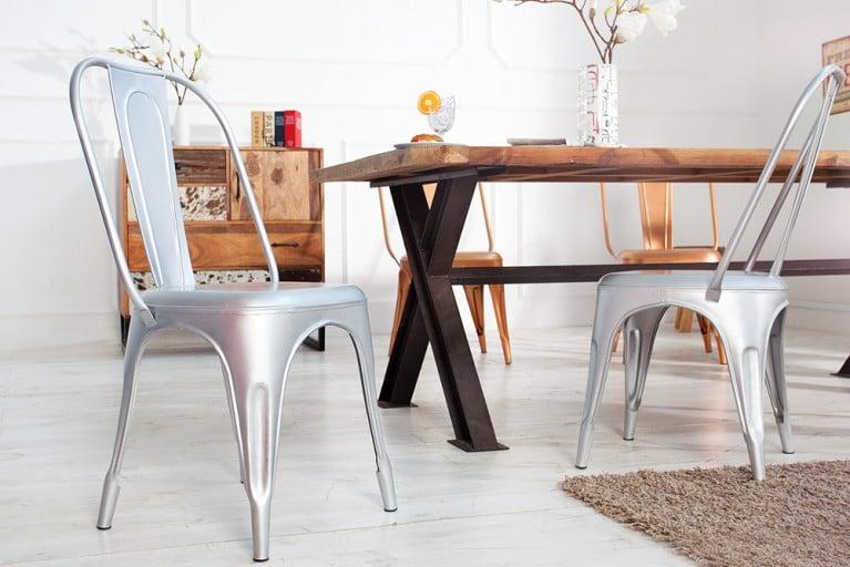 Stylischer Design Stuhl MONTMARTRE Silber 95cm Designklassiker Industrial Finish matt