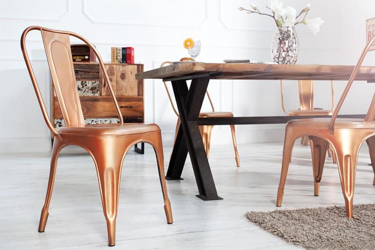 Stylischer Design Stuhl MONTMARTRE Kupfer 95cm Designklassiker Industrial Finish matt