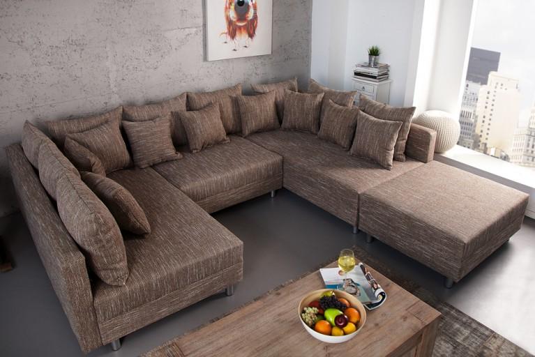 Design Sofa LOFT XXL mit Hocker Strukturstoff coffee