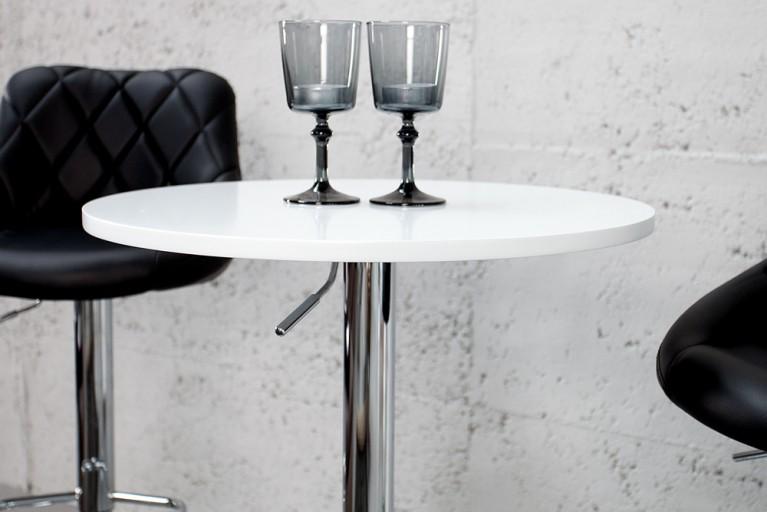 Design Stehtisch Move weiß rund Bistrotisch höhenverstellbar