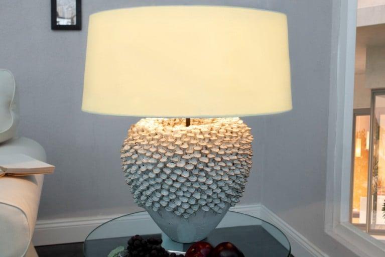 Echte Keramiklampe Kunsthandwerk Tischlampe Koralle natürlich in Handarbeit gefertigt