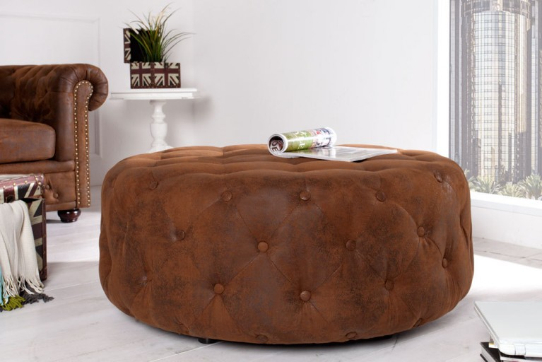 Kultiger Design Chesterfield Hocker BIG STOOL 100cm coffee used Look Couchtisch Ablage Pouf