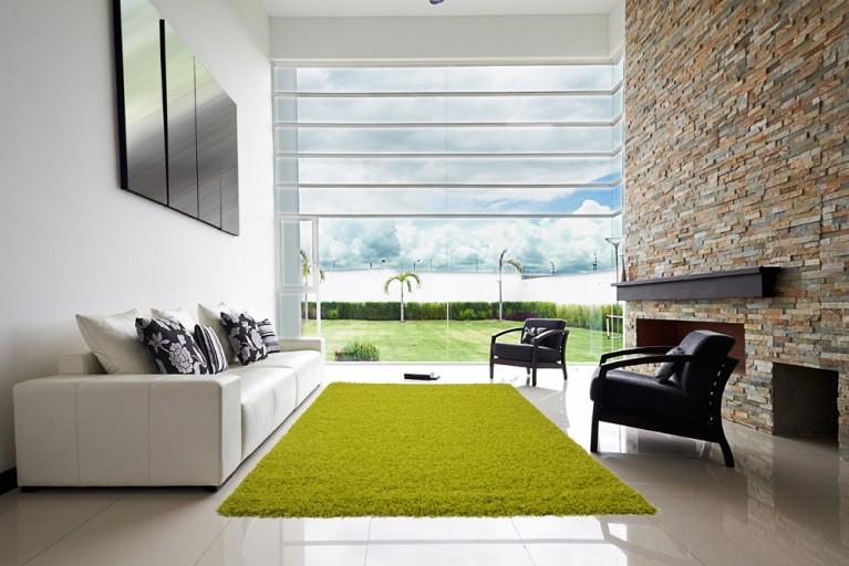 Design Hochflor Teppich SHAGGY grün lime 160x230cm