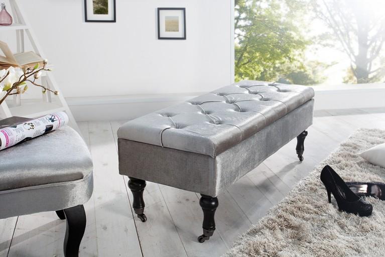 Edle Design Truhenbank BOUTIQUE Samt silber Sitzbank mit Stauraum 110 cm