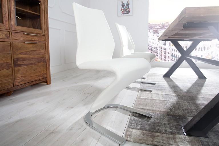Eleganter Design Stuhl AIR II weiß Freischwinger