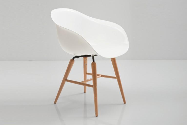 KARE DESIGN Designklassiker Stuhl FORUM weiß mit großer Sitzschale und Stuhlbeinen aus Buche