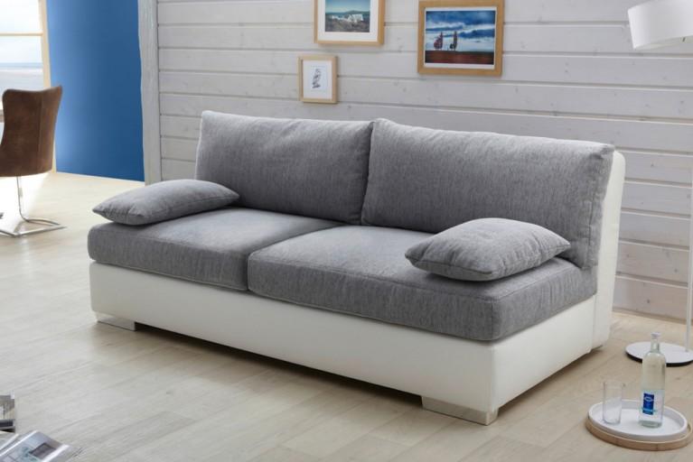 Stylisches Design Funktionssofa DORSET weiß grau Strukturstoff mit Boxspringfunktion inkl. Topper und Bettkasten