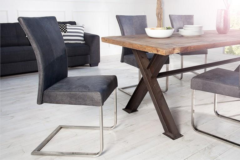Nobler Freischwinger HERKULES Stuhl antik grau mit Komfortgriff und Edelstahlrahmen