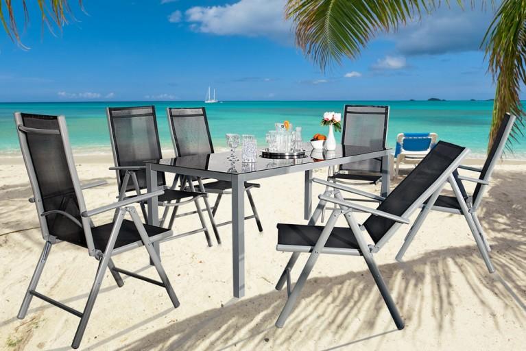 Gartenmöbel-Set 7-tlg. PACIFIC Aluminium schwarz silber Tisch 190cm und 6 Stühle