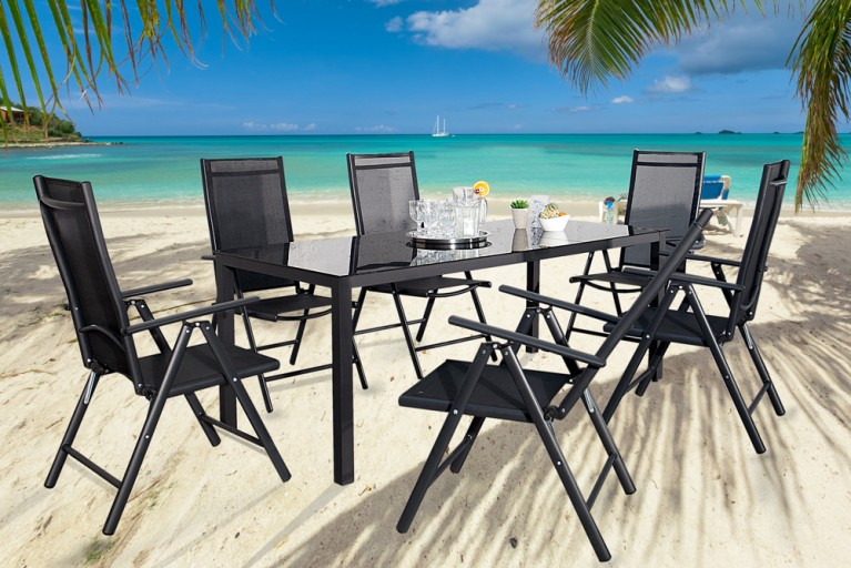 Gartenmöbel-Set 7-tlg. PACIFIC Aluminium Textilene schwarz Tisch 190cm und 6 Stühle